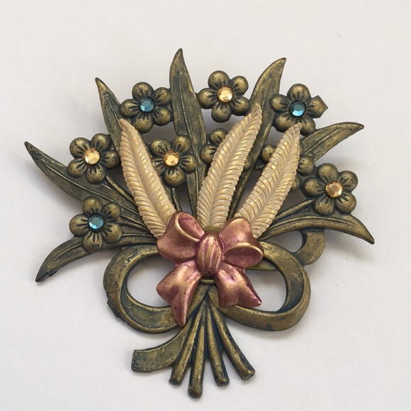 Vintage Metal Floral Bouquet Brooch Pin | Poshmark